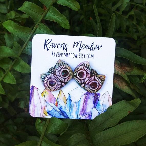 Polymer clay owl stud earrings,  handmade jewelry boho jewelry