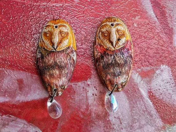 Barn owl earrings, polymer clay owls, handmade jewelry, earring charms