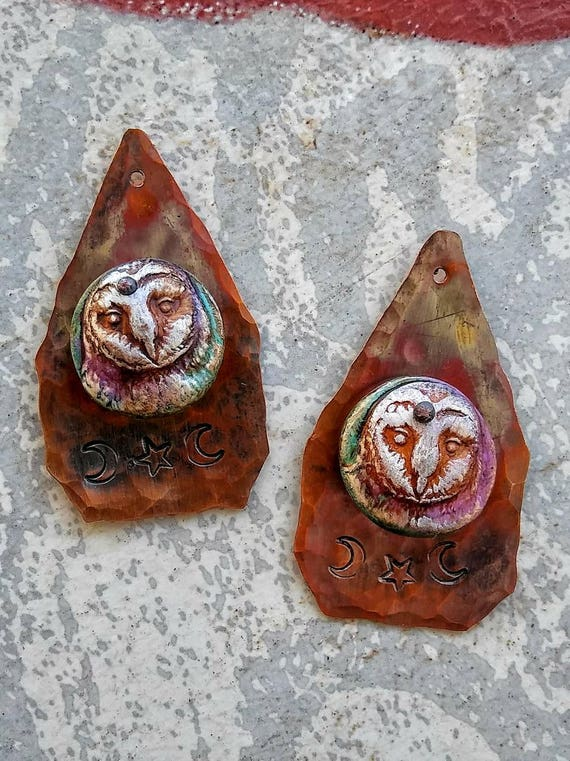 Barn owl jewelry, hammered copper components, copper jewelry fire patina, handmade jewelry supplies