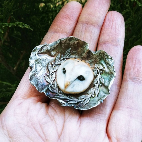 Wood grain owl ring Sterling Silver ring silver polymer clay owl adjustable ring