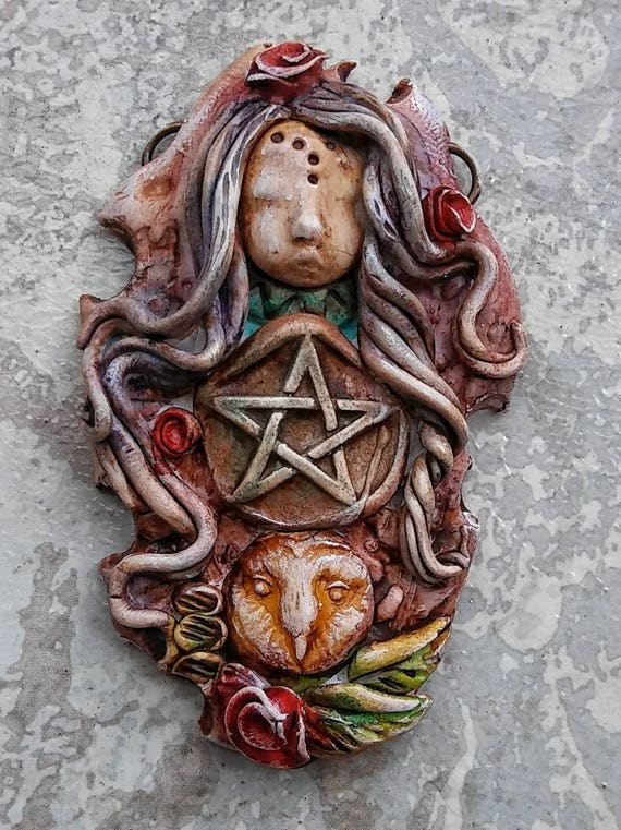 Owl goddess, Wiccan jewelry, pentacle jewelry, goddess jewelry, magical jewelry, polymer clay