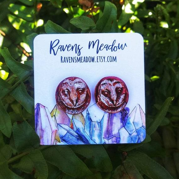 Polymer clay owl stud earrings,  handmade jewelry boho jewelry rustic jewelry