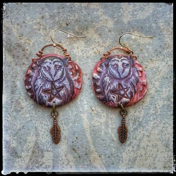 Polymer clay owl earrings, handmade owl earrings, rustic and organic earrings