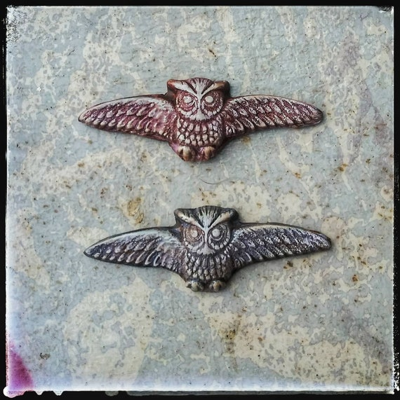 Dusty owl cabochons, polymer clay beads, Halloween jewelry beads