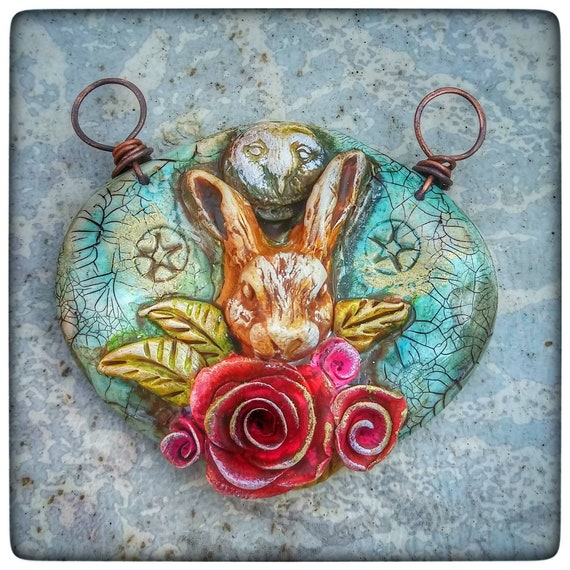 Rabbit pendant, owl and roses, polymer clay pendant, wiccan jewelry