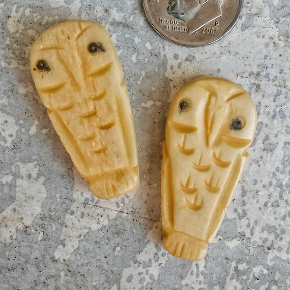 Carved owl bead, carved bone bead, tribal jewelry, organic bone jewelry supplies