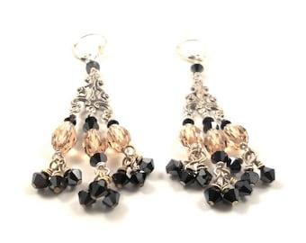 ANNIVERSARY SALE.  Sterling Chandelier Earrings  Jet Swarovski Crystals & Citrine Textured Sterling Silver Women's Chandelier Earrings