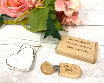 USB, Personalised 16GB Wooden USB with Wooden Box, Wedding, Photography, Gift, Wedding, Memory