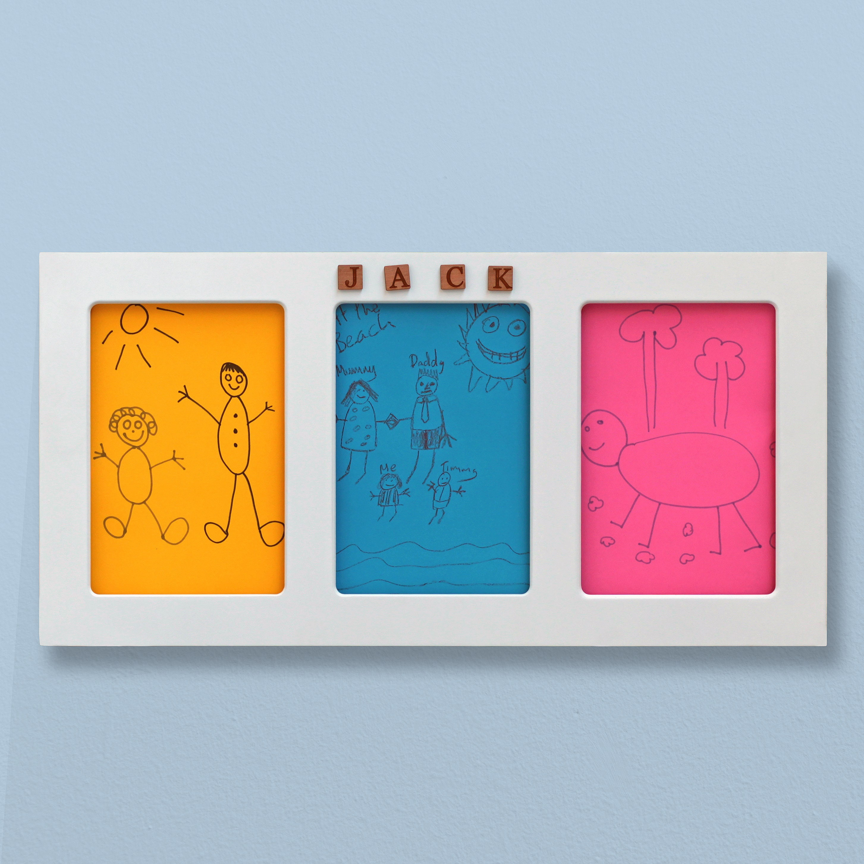71 x 38 cm Kids Drawing Picture Frame - A4 Triple Size, Personalised ...