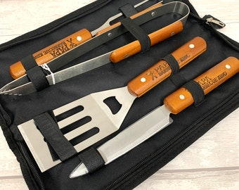 Barbecue set personalised • bbq set • wooden handled engraved set in case • bbq gift