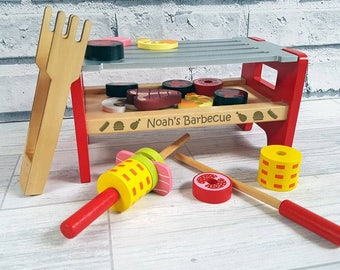 Child's Wooden Toy BBQ Personalised, Role play, BBQ, Cooking, Play Food - 00155