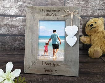 Personalised Daddy and Daughter Rustic Wooden Frame, Valentine's Day, Dad, Gift for Men (00210)