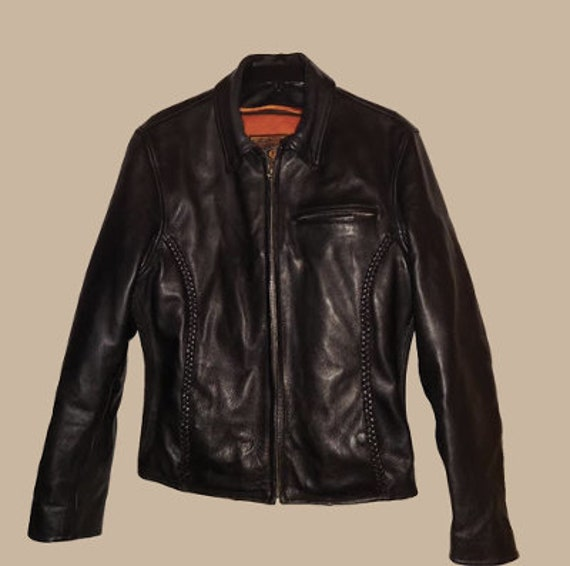 Vintage black motorcycle jacket size large cool br