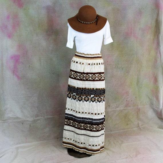 Hand made crochet maxi boho long skirt. Boho Maxi