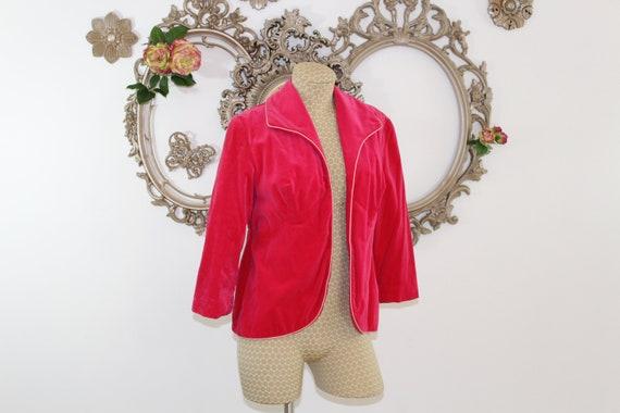 Hot Pink Velvet Blazer Vintage 1980's .