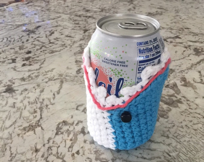 Featured listing image: Crochet Shark Cozy - Can Size!