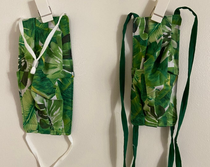 Featured listing image: Tropical Jungle Leaves Cotton Face Mask with Ties | Reversible | Washable | Ready to Ship