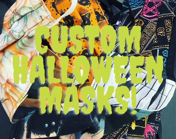 Featured listing image: Custom Halloween Cotton Mask | Reversible | Washable | Ready to Ship