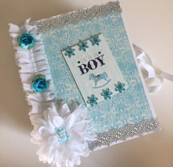 Baby Boy Mini Album, Pre-Made Baby Boy Album, First Year Album, Baby Album, Baby Book,Baby Boy Mini Album, Handmade,Baby Scrapbook, Baby