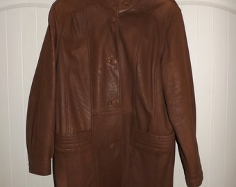 90s Full Length Leather  Patchwork Trench Coat