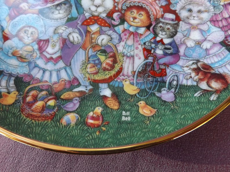 Issued by Franklin Mint. EASTER PURRADE Limited Edition Plate by Bill Bell 20.5cm Diameter CATS Decorative Easter Porcelain Plate