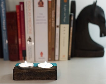 Blue & Bass Wood Candle Holder
