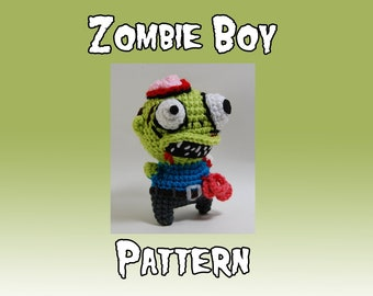 Crochet Zombie Boy Pattern - Amigurumi Zombie Pattern - Brains - Intestestines - Crochet Plush - Horror Toy