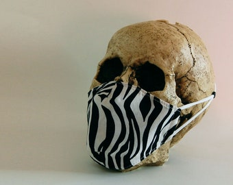 Zebra Print Face Mask - Adult Small- 3 Layer Mask - 100% Cotton with Non Woven Polypropylene Filter Layer