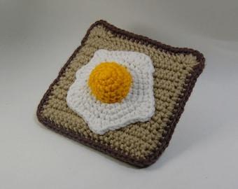 Fried Egg on Toast Amigurumi - Crochet Breakfast - Crochet Toast and Egg