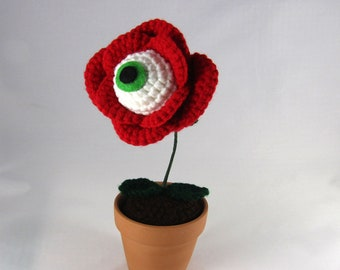 PDF Crochet Pattern - Eye Ball Rose - Creepy Flower - red rose flower - eyeball plant - horror crochet - weird crochet pattern