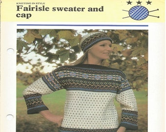 67107683545 PDF Knitting Pattern - Fairisle sweater and cap - Vintage knitting pattern  - instant download