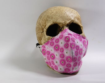 Pink Flowers Face Mask - Adult Womens - 2 Layer Cotton & Poly-Cotton - Breathable - Adjustable Ear Straps - Pink Daisy Mask