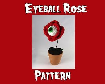 PDF Crochet Pattern - Eye Ball Rose - Creepy Flower - red rose flower - eyeball plant - horror crochet - weird crochet pattern