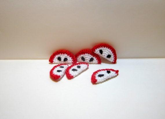 Country Rustic Decor Red Apple Slices Crochet Apples Handmade Kitchen Magnets Apple Slice Fridge Magnets Crochet Fruit Slice