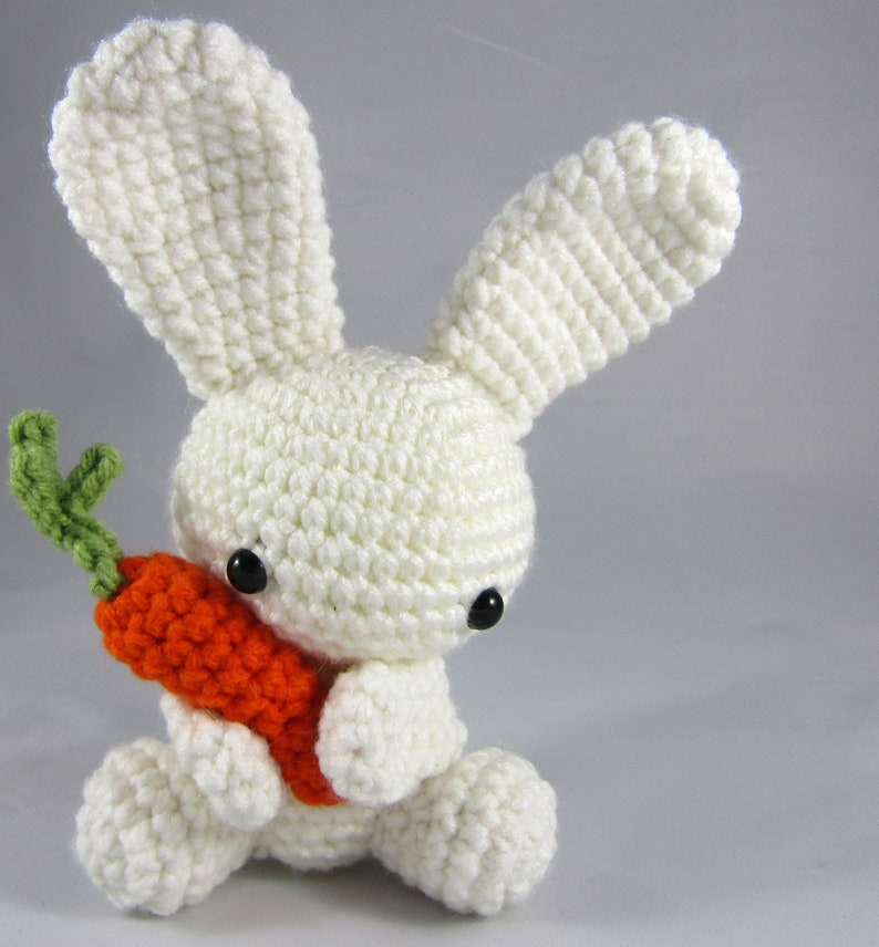 Easter Bunny with Carrot  Plush Bunny Toy  Crochet White image 0