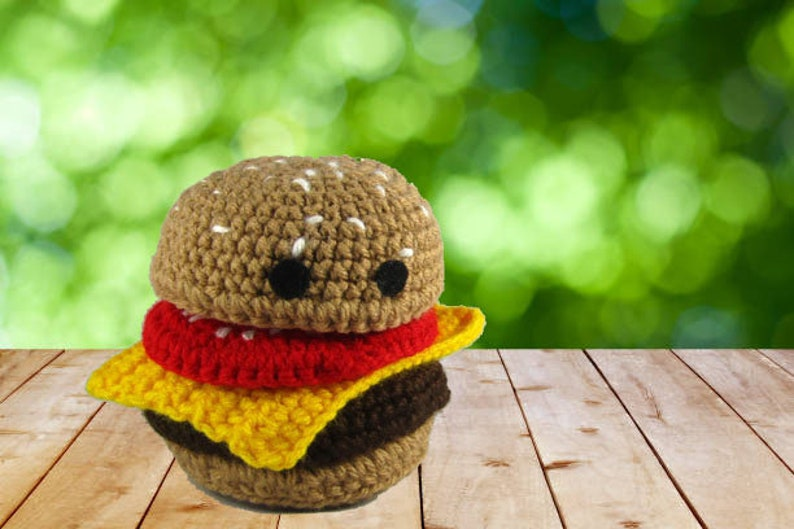 Toy Hamburger  Crochet Food Plush  Amigurumi Veggie Burger  image 0
