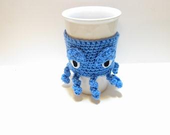 Octopus Mug Cozy - Blue Coffee Sleeve - Creepy Crochet, Kraken Coffee Sleeve - Stocking Stuffer - Holiday Gift - Coffee Lover Gift