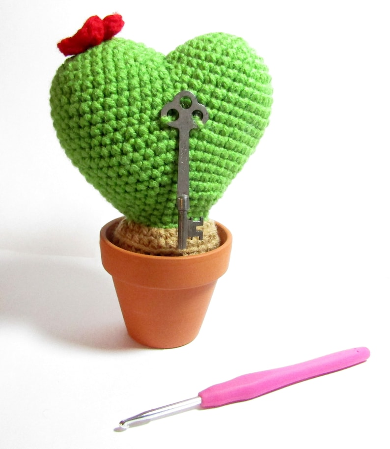 Key To My Heart Cactus  Crochet Heart Cactus with Vintage Key image 0