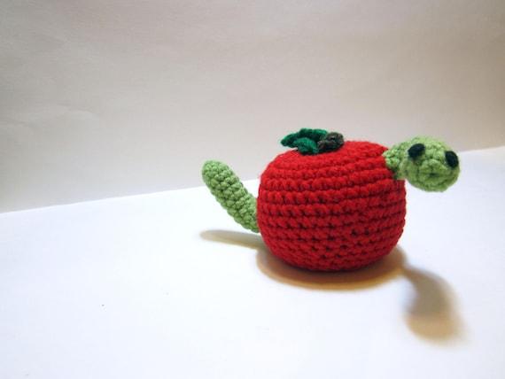 Wurm Apple Amigurumi Häkeln Apfel Mit Wurm Seltsame Etsy
