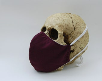 Burgundy Face Mask - Adult Large - 3 Layer PolyCotton with Non Woven Interfacing - Adjustable Strap - Wine Color Mask - Solid Color Mask