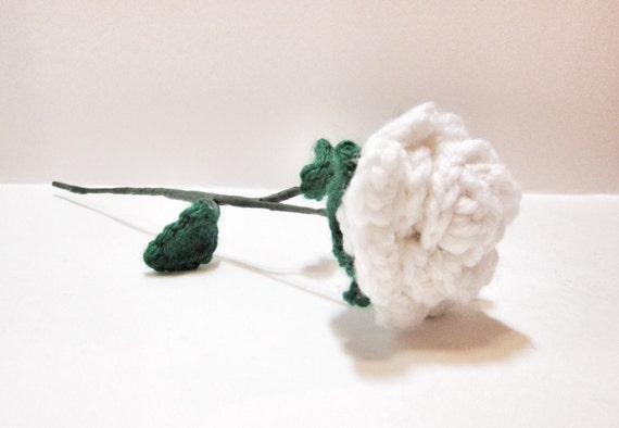 Weiß Häkeln Rose Handgemachte White Rose Mit Stiel Häkelblume Künstliche Blumen Blumen Dekor Lange Stemmed Rose Geschenke Für Sie