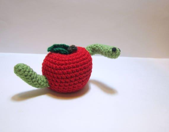 Wurm Apple Amigurumi häkeln Apfel mit Wurm seltsame | Etsy