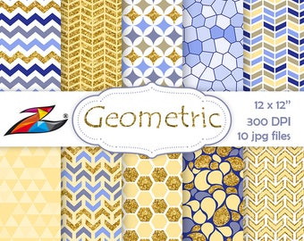 Sale Geometric Digital Paper Yellow blue gold digital paper geometric  scrapbook chevron background Printable Paper Mosaic 6ff3204d1bfc