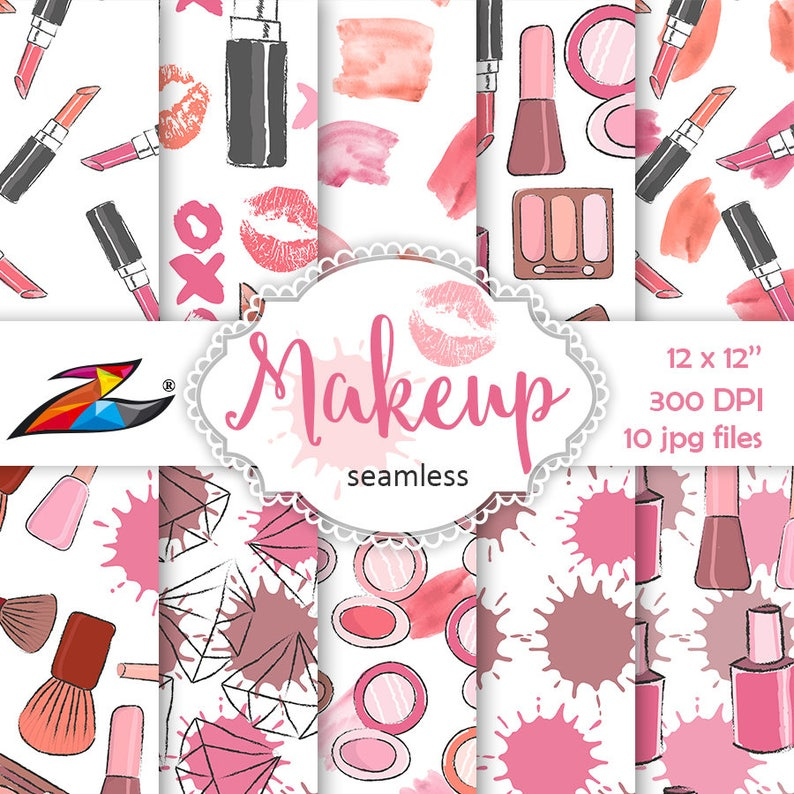 Sale Makeup Digital Paper Seamless pattern Kiss digital paper image 0