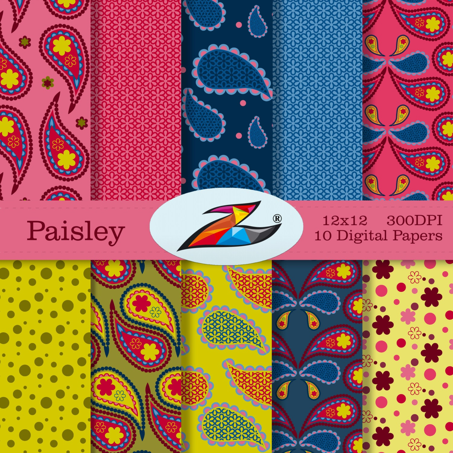 labor day sale paisley digital paper floral background etsy. Black Bedroom Furniture Sets. Home Design Ideas