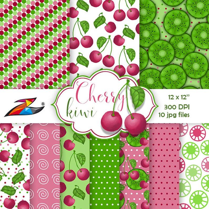 Sale Fruit digital paper Cherry digital paper Red green image 1