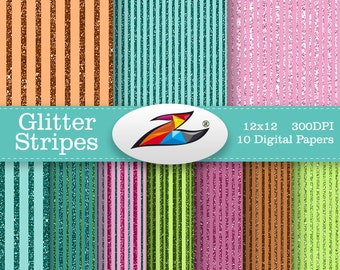 Sale Glitter Stripes Digital Paper Colorful Scrapbook Paper Stripe Pattern Commercial Use card invites birthday Party Paper
