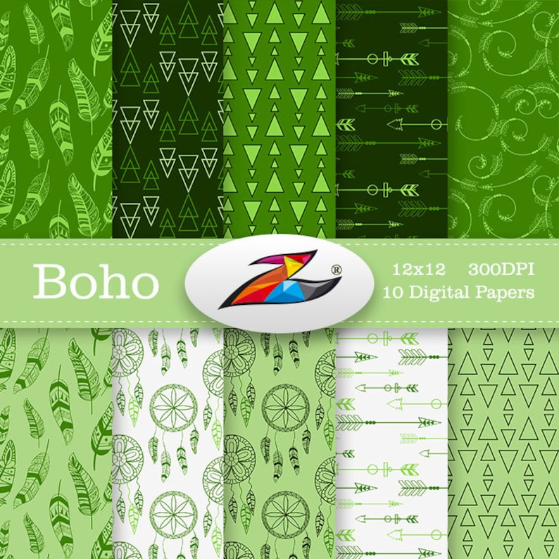 Labor Day Sale Boho Digital Paper Green Boho Pattern Feather Digital Paper Arrow Scrapbook Paper Triangle Green Background Commercial Use