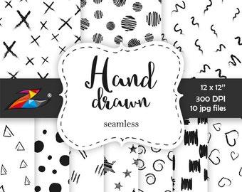 Sale Black white digital paper, doodle background seamless pattern hand drawn paper scrapbook modern graphic digital black strokes