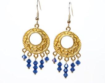 Dark Sapphire Swarovski and Gold Chandelier Earrings